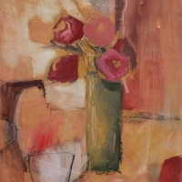 Red Poppies with Green Vase