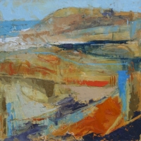 Abstract Seascape in Blue and Orange, Oil on Board, 40cm x 40cm, £950