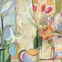 Flowers in the Window, Oil on Canvas, 70cm x 140cm, £4,200
