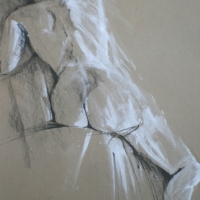 Nude in Ink and White Paint