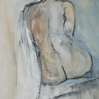 Nude in Oil and Charcoal on Board